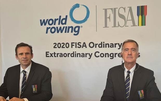 Jean-Christophe Rolland, presidente da World Rowing (esq.) e Matt Smith, director Executivo
